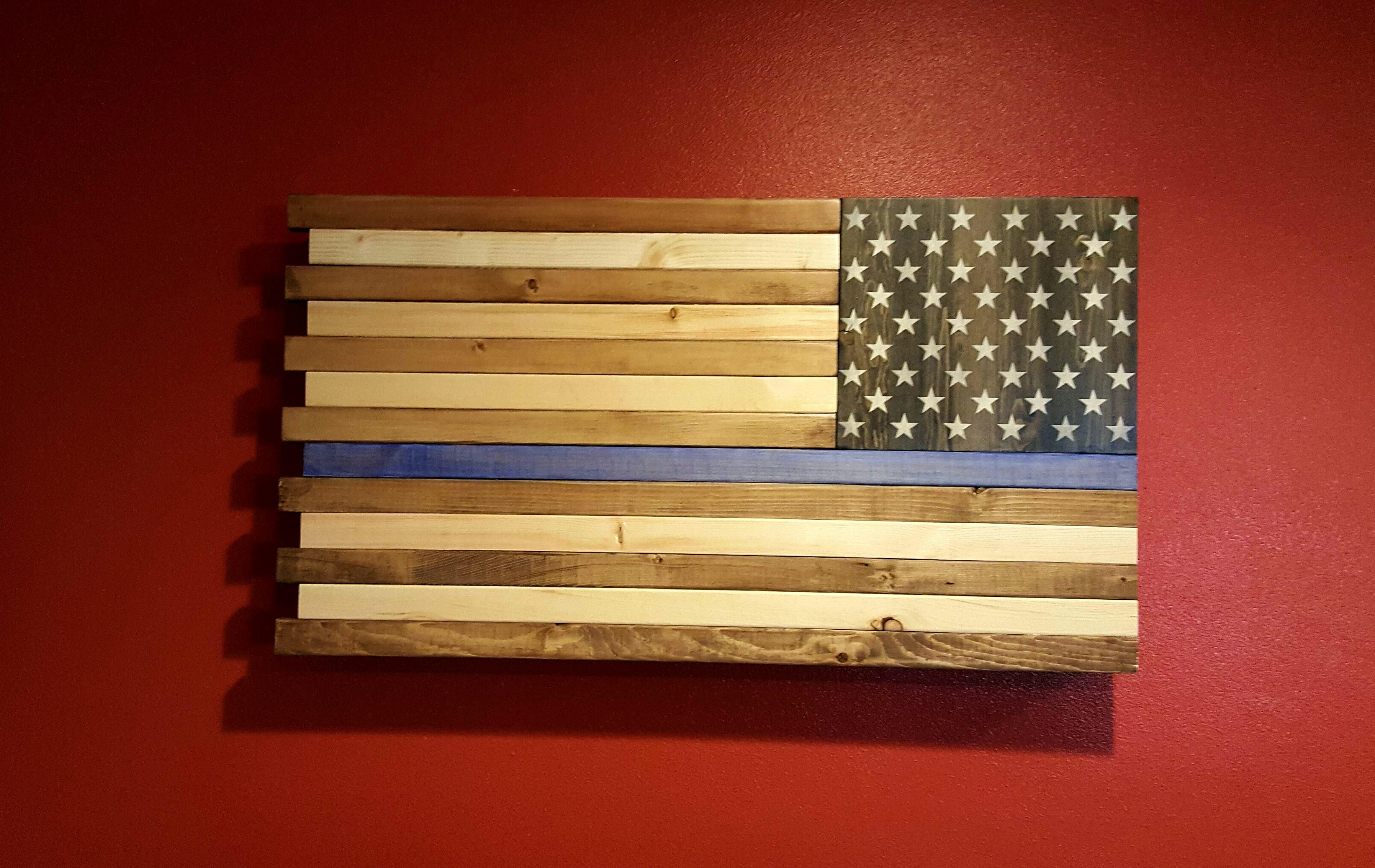 Rustic American Flag Wall Art For Recent The Thin Blue Line Rustic American Flag Wall Art (View 7 of 15)