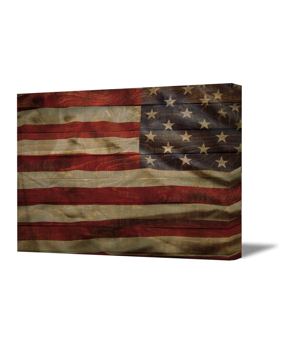 Rustic American Flag Wall Art Pertaining To Most Recently Released American Flag Canvas Art Retro Rustic Style Usa Art American Flag (View 8 of 15)