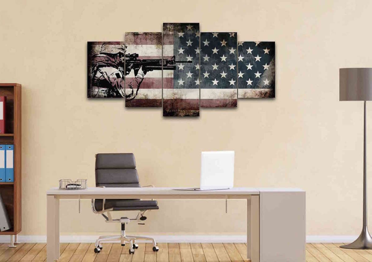 Rustic American Flag With Us Army Soldier Wall Art Canvas Painting Regarding Famous Rustic American Flag Wall Art (View 12 of 15)