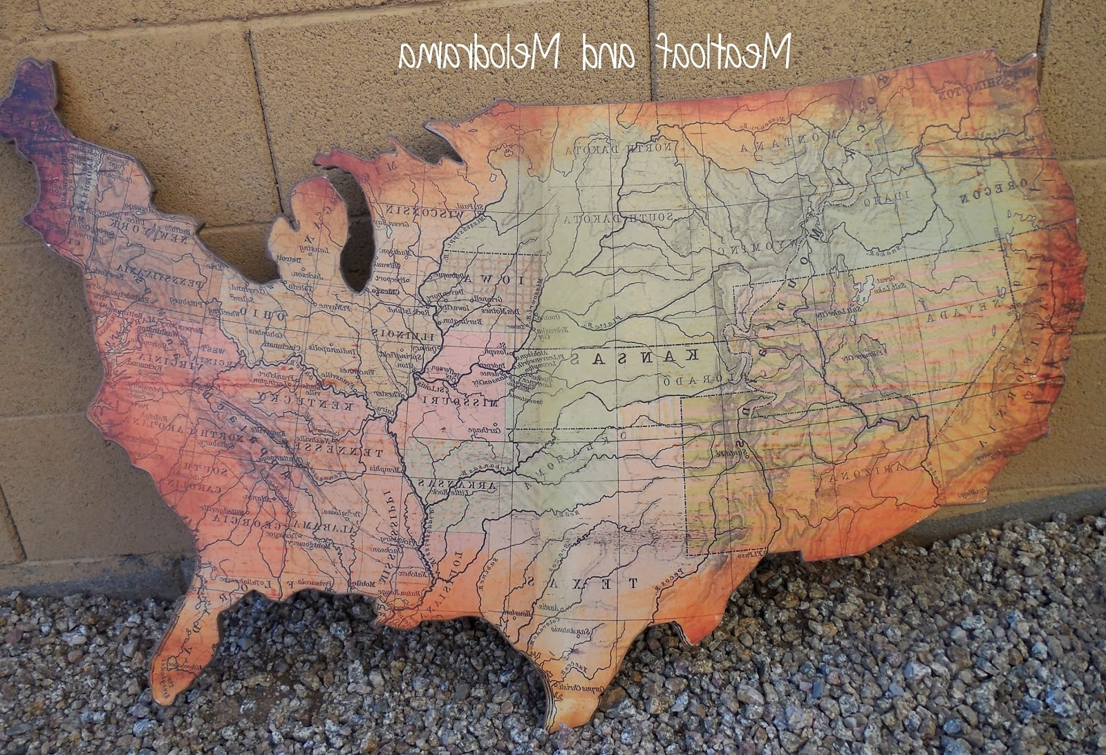 Rustic Wooden Wall Art – Meatloaf And Melodrama Inside Trendy Us Map Wall Art (View 12 of 15)