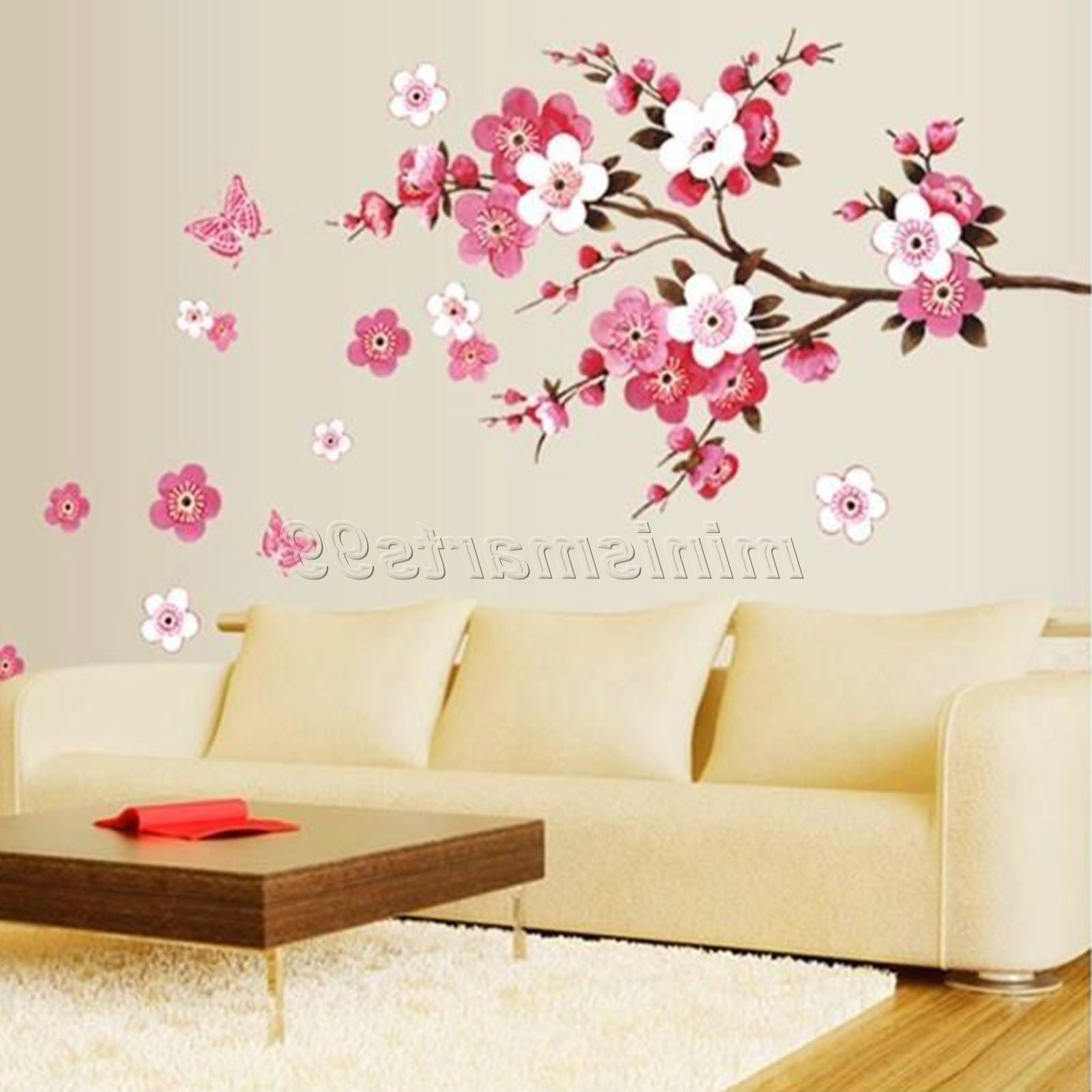 Sakura Flower Butterfly Cherry Blossom Wall Decal Nursery Tree With Most Current Cherry Blossom Wall Art (View 12 of 15)