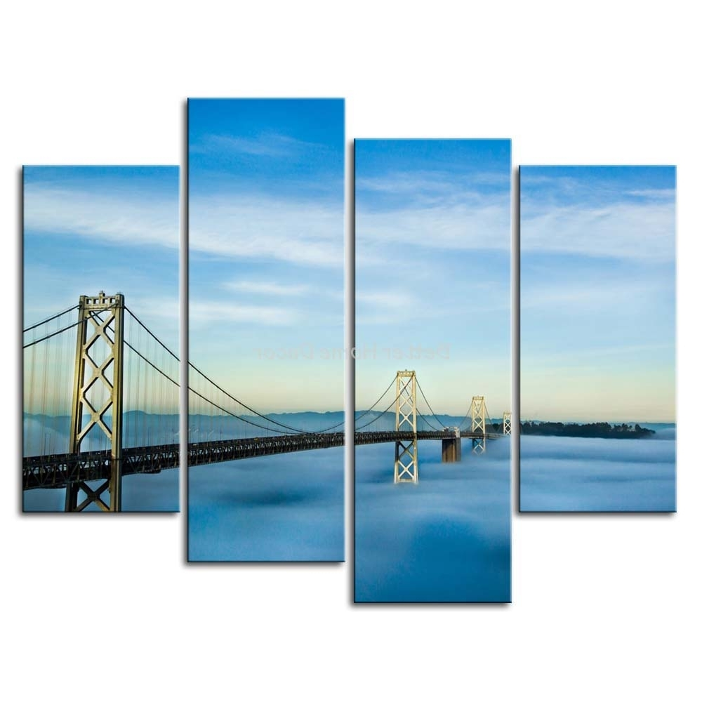 San Francisco Wall Art Throughout Favorite 3 Piece Wall Art Painting San Francisco Oakland Bay Bridge Picture (View 12 of 15)