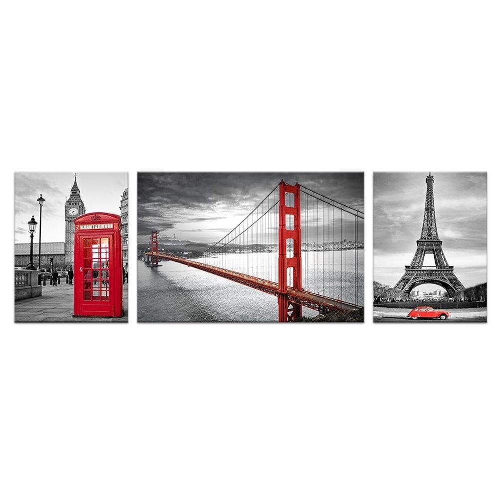 San Francisco Wall Art With Best And Newest Black And White Red Image Wall Decor Prints Living Room San (View 13 of 15)