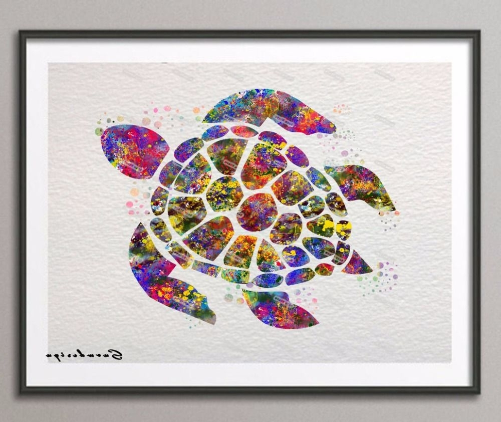 Sea Turtle Canvas Wall Art Intended For Newest Find More Painting & Calligraphy Information About Diy Original (View 8 of 15)