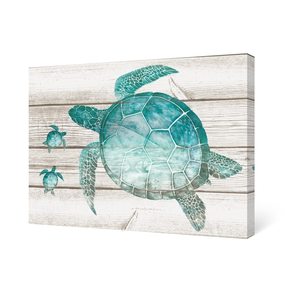 Sea Turtle Canvas Wall Art Pertaining To Well Known Sumgar Wall Art For Bathroom Green Sea Turtle Wall Decor Vintage (View 12 of 15)