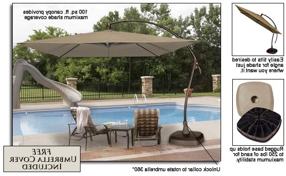 Seabrooke 10' Square Cantilever Umbrella With Base For Most Current Square Cantilever Patio Umbrellas (View 7 of 15)