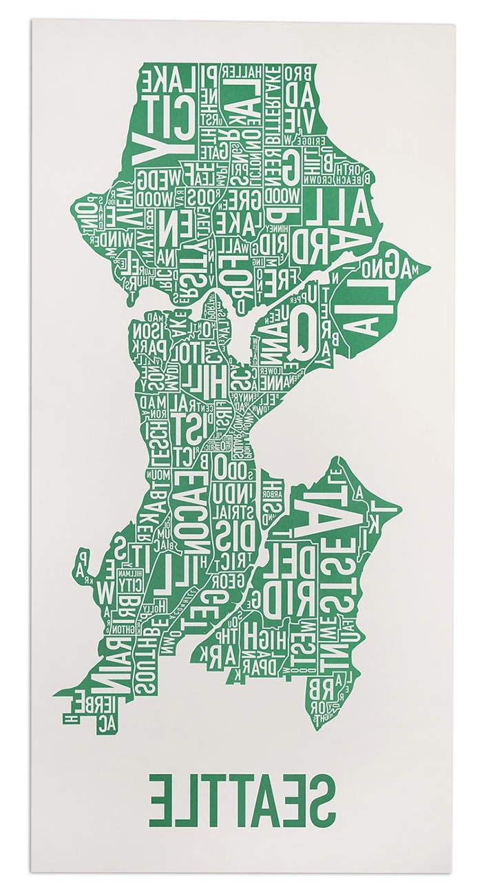 """Seattle Map Wall Art Inside Well Known Seattle Neighborhood Map 16"""" X 32"""" Emerald City Green Poster (View 6 of 15)"""