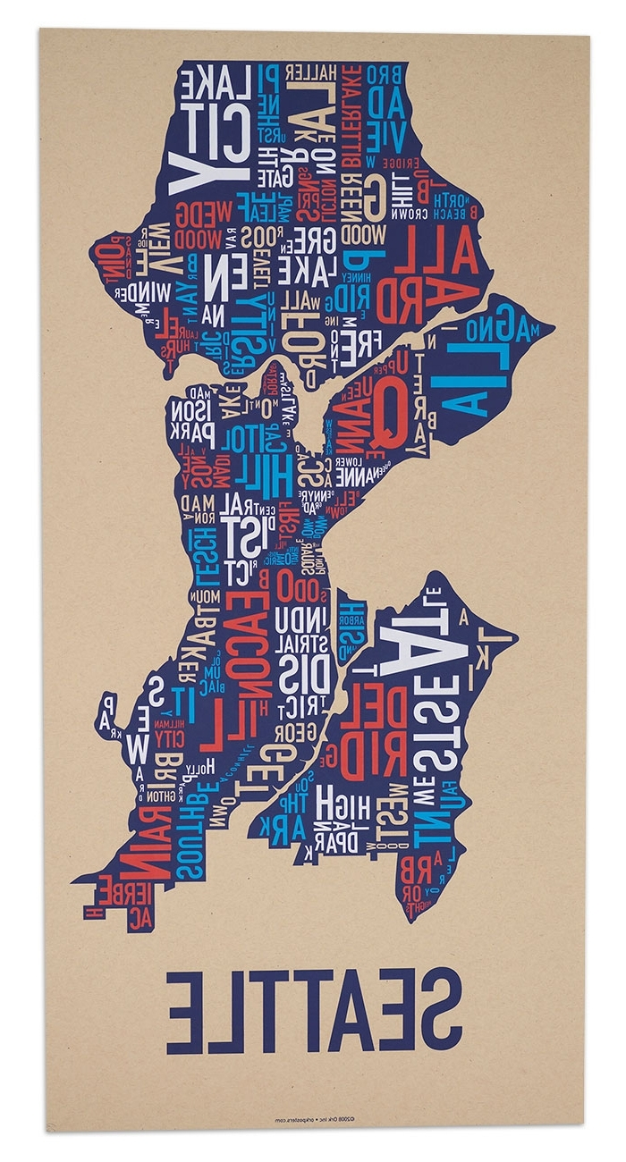 """Seattle Map Wall Art Intended For Most Popular Seattle Neighborhood Map 13"""" X 26"""" Multi Color Screenprint (View 7 of 15)"""