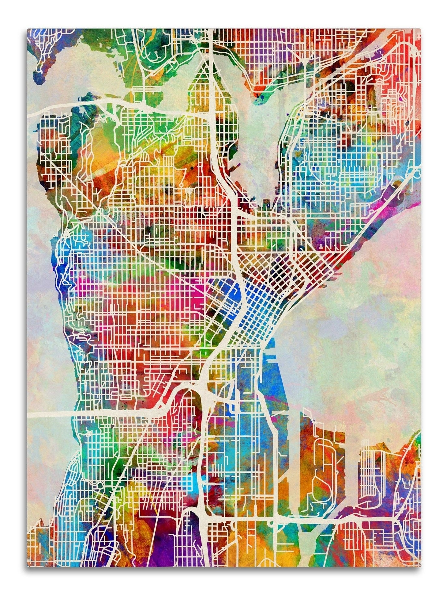 Seattle Washington Street Mapmichael Tompsett Graphic Art On With Most Recent Seattle Map Wall Art (View 11 of 15)
