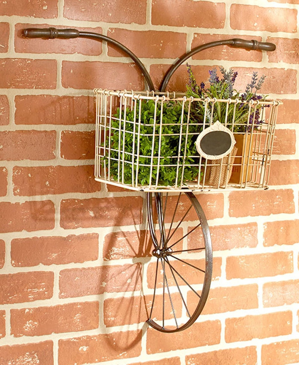 Shabby Vintage Chic Wall Decor Bicycle Rack Plaque Metal Wall Art Intended For Well Known Shabby Chic Wall Art (View 15 of 15)