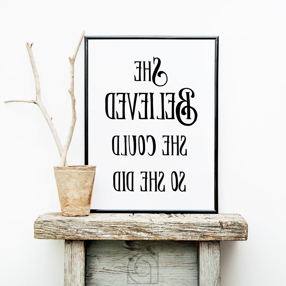 She Believed She Could So She Did Wall Art Regarding Well Known She Believed She Could, Inspirational Wall Art, Printable Art (View 11 of 15)
