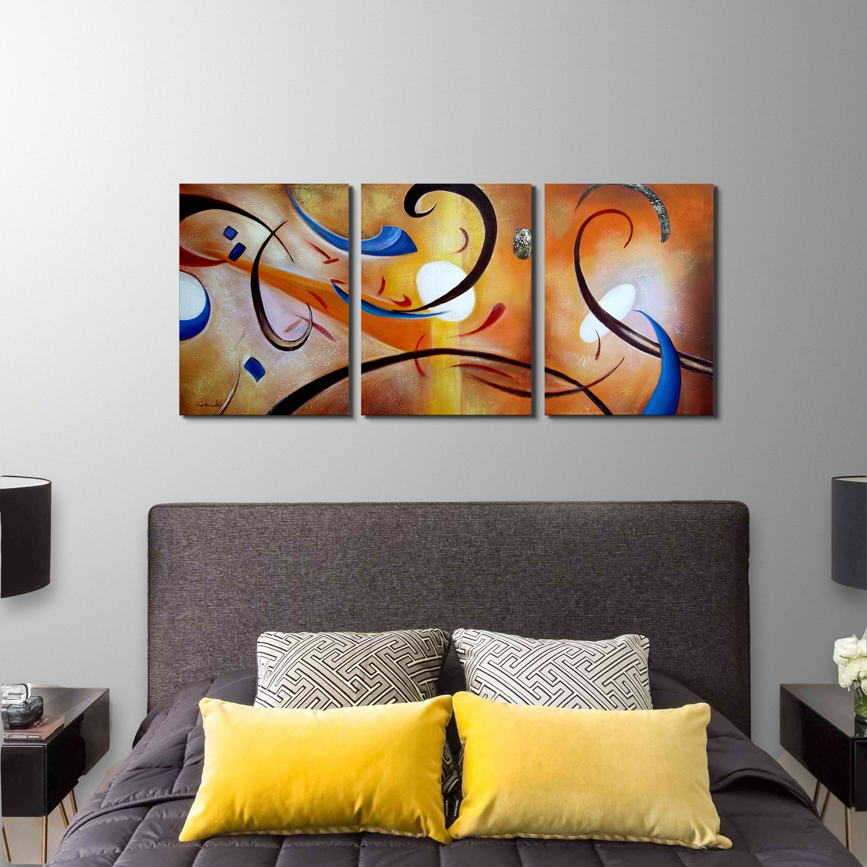 Shop Clay Alder Home Happiness Abstract' Hand Painted Gallery Pertaining To Most Current Overstock Wall Art (View 8 of 15)