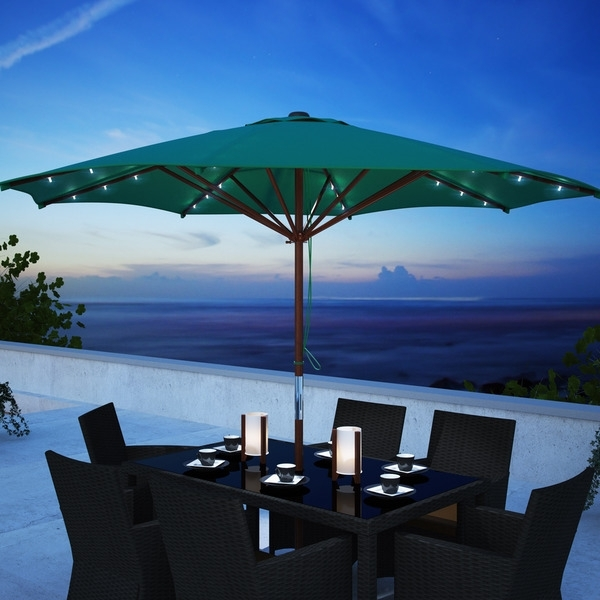 Shop Corliving Patio Umbrella With Solar Power Led Lights – Free With Regard To Current Solar Powered Patio Umbrellas (View 10 of 15)