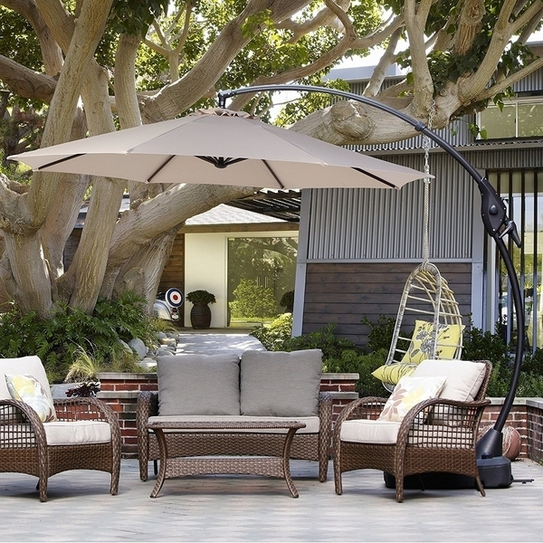 Shop Grand Patio 10 Ft Outdoor Patio Umbrella With Crank Handle And Within Most Popular 10 Ft Patio Umbrellas (View 9 of 15)