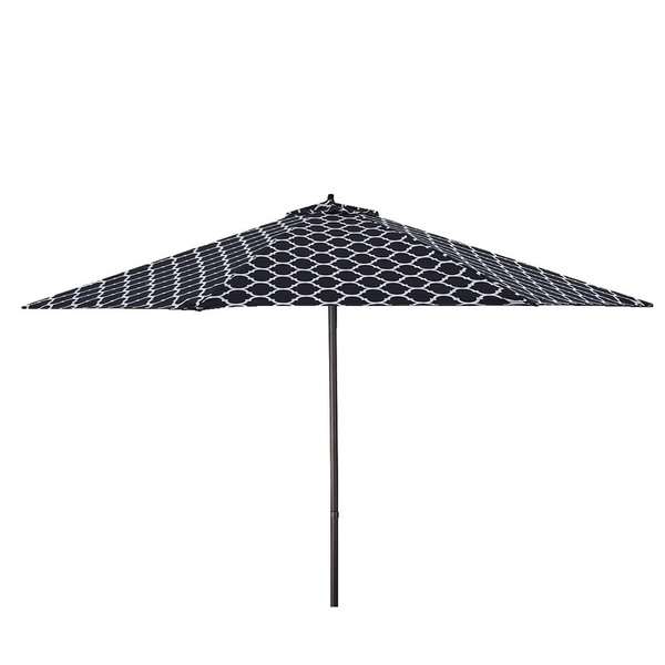 Shop Lauren & Company 9' Black/white Moroccan Pattern Patio Umbrella For Popular Patterned Patio Umbrellas (View 12 of 15)