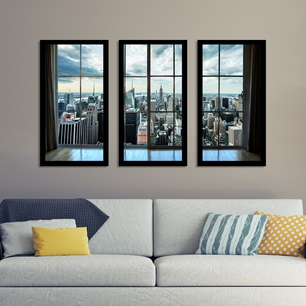 "Shop "" Newyork Window"" Framed Plexiglass Wall Art Set Of 3 – On Sale With Widely Used Window Frame Wall Art (View 10 of 15)"