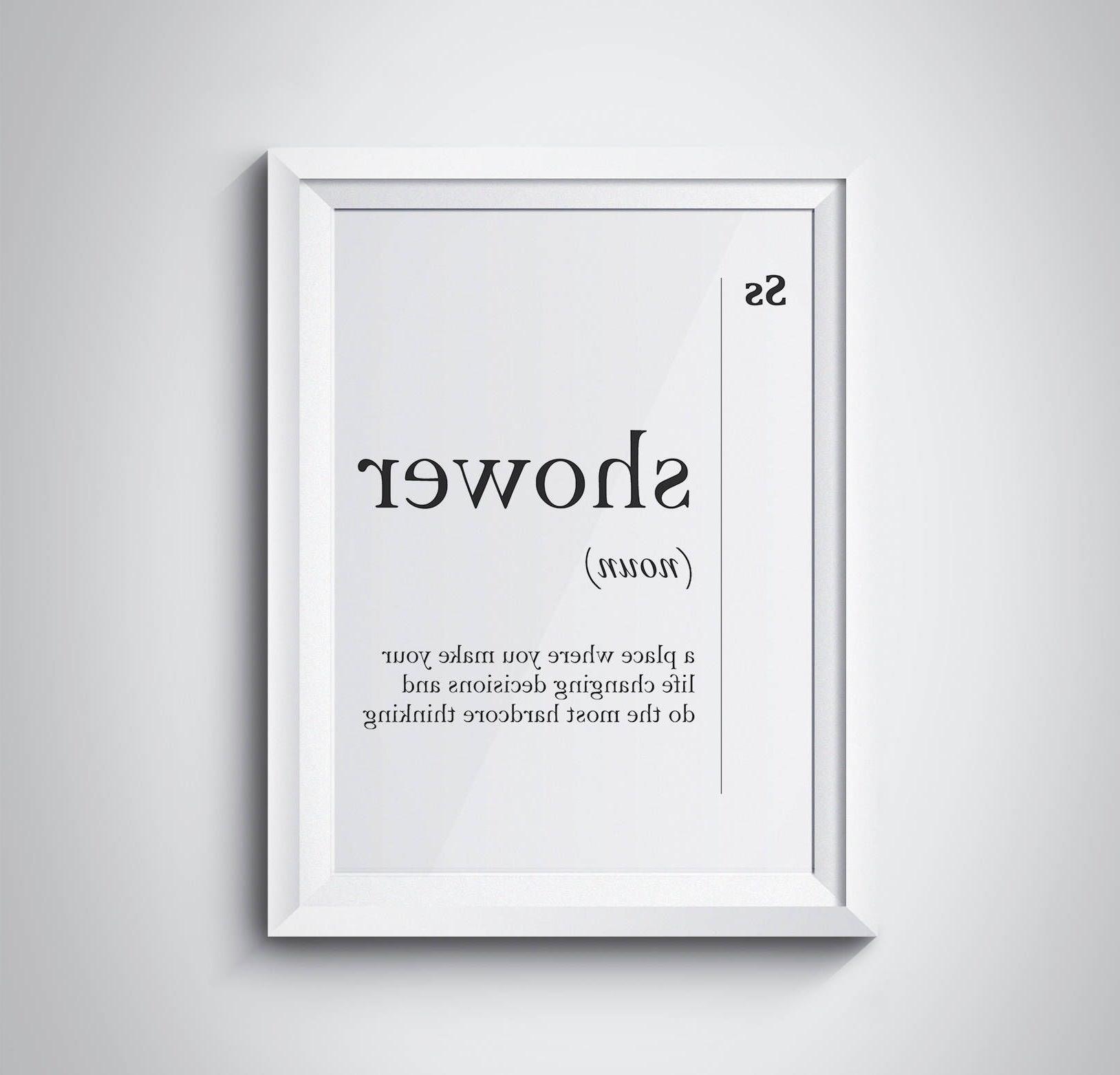 Shower Definition Bathroom Print Bathroom Wall Art Funny Bathroom Inside Most Recently Released Bathroom Wall Art (View 4 of 15)