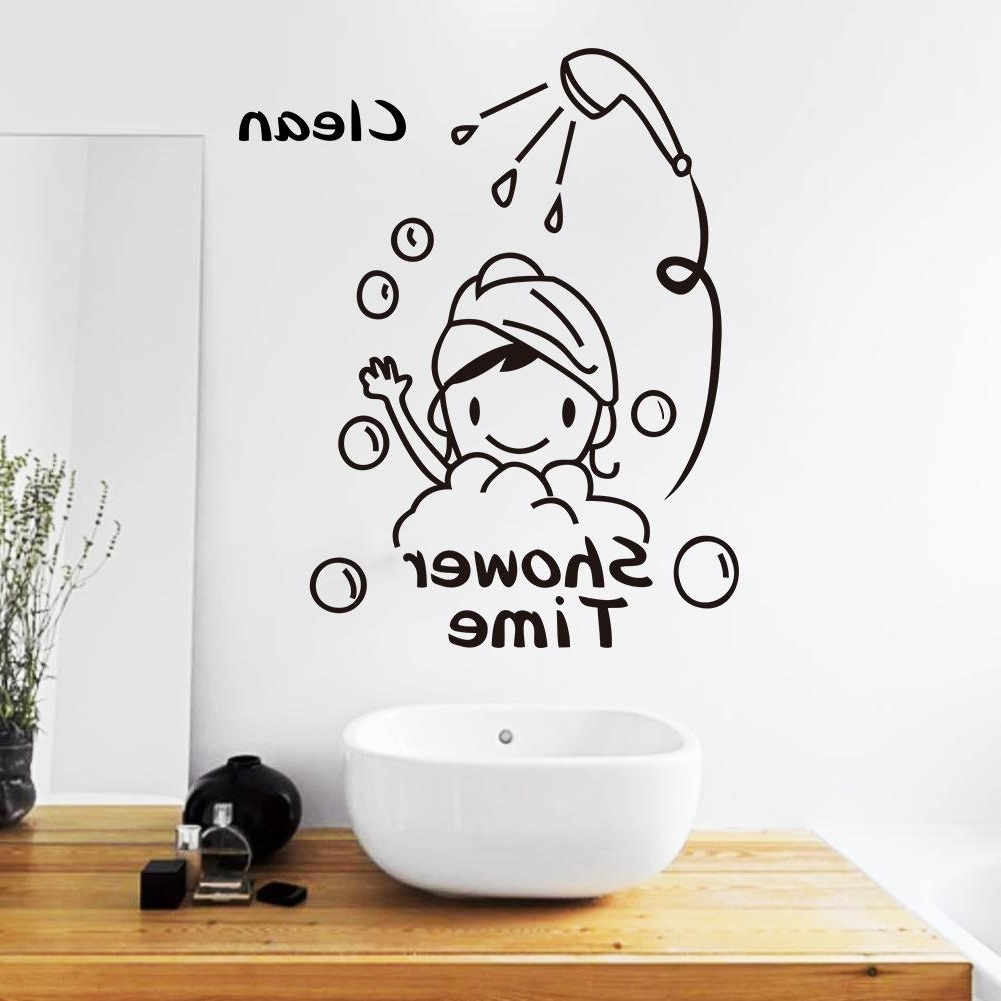 Shower Time Bathroom Wall Decor Stickers Lovely Child Removable Pertaining To 2018 Wall Art Stickers (View 10 of 15)