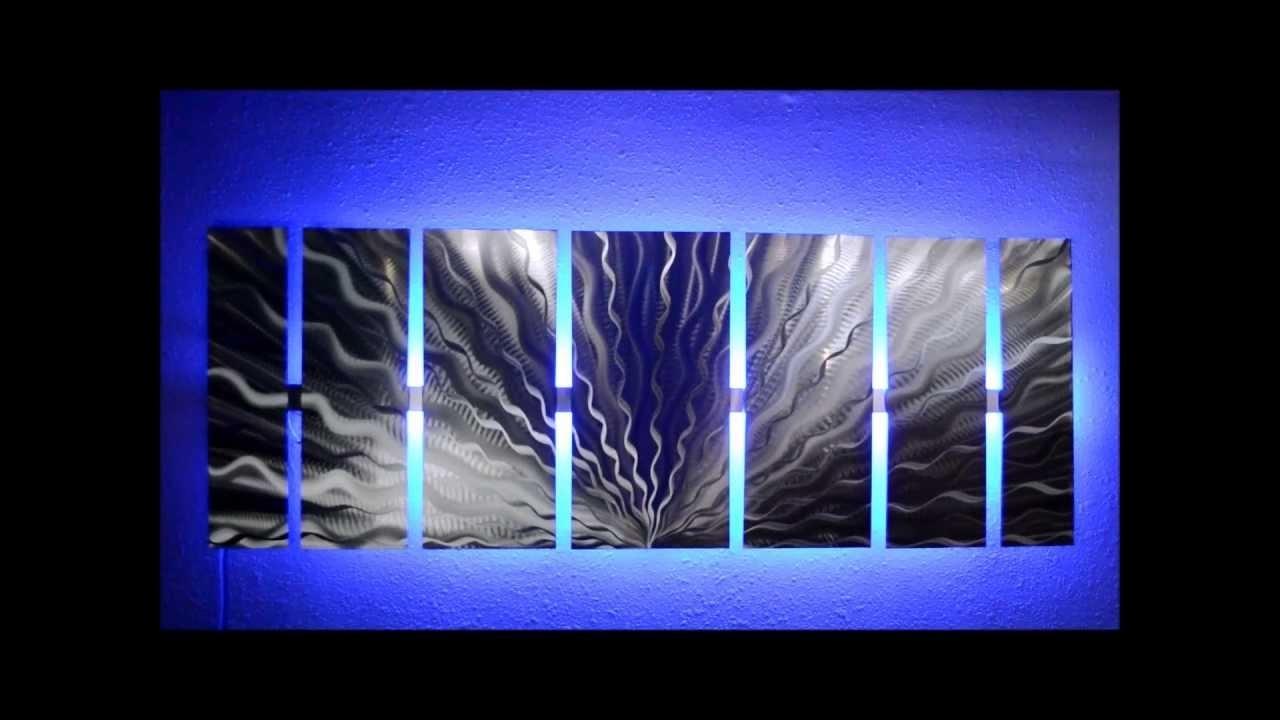 Silver Vibration Led Lighted Metal Wall Artbrian M Jones – Youtube Within Famous Lighted Wall Art (View 11 of 15)