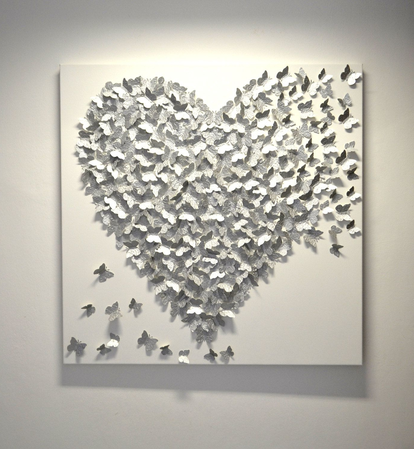 Silver Wall Art throughout Fashionable 3D Silver Butterfly Art - Hollywood Regency Glam / Modern Statement