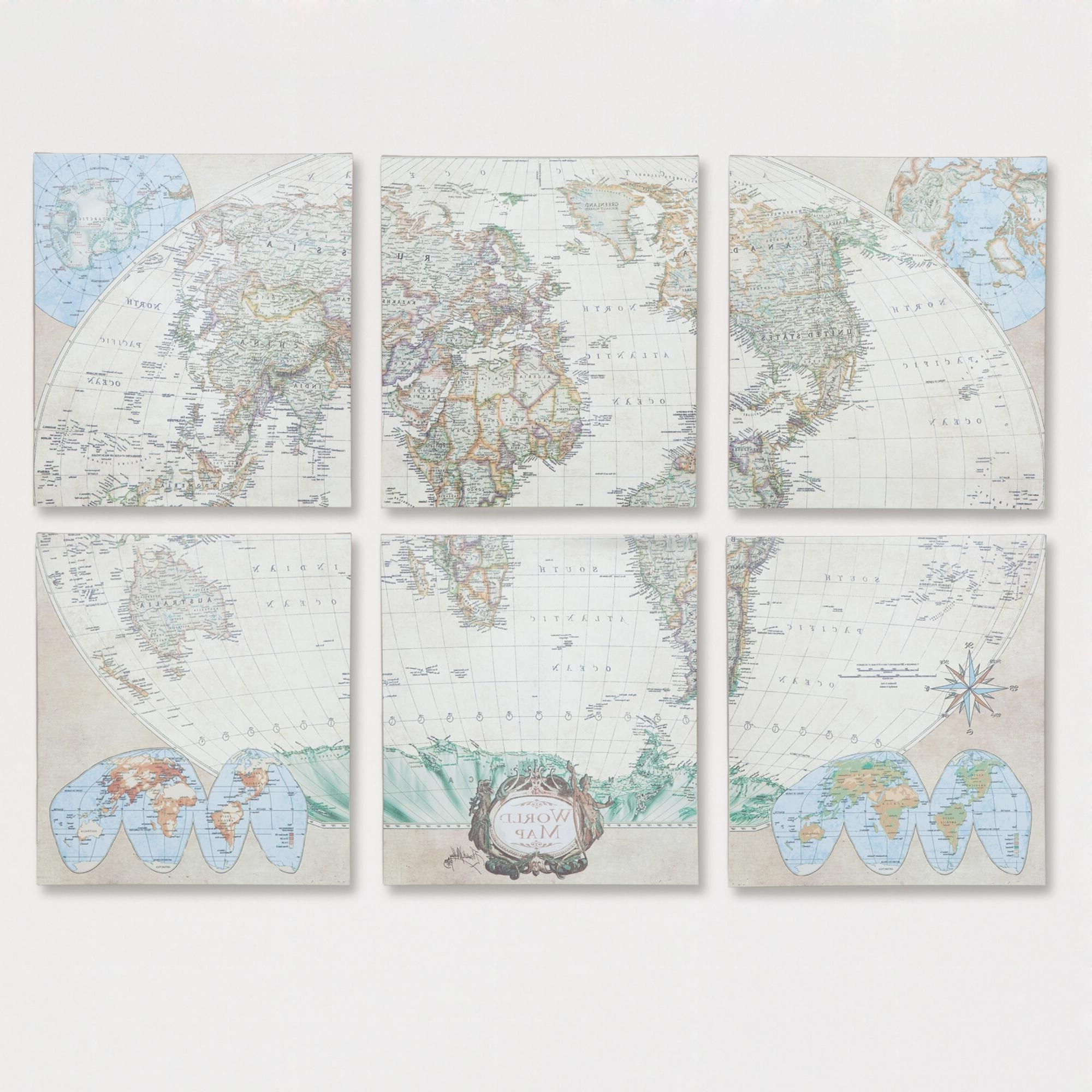 Six Piece World Map Set, Set Of 6: Multi/natural – Canvas – Large Intended For Recent World Market Wall Art (View 7 of 15)