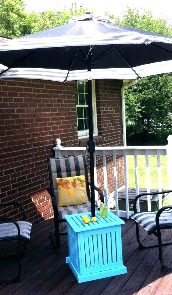 Small Patio Tables With Umbrellas Hole For Popular Small Patio Table With Umbrella Hole Round And Chairs 8 Furniture (View 8 of 15)