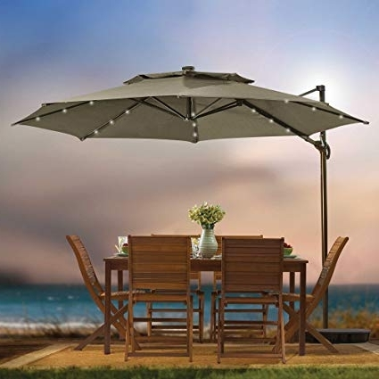 Solar Patio Umbrellas Inside Preferred Amazon : Destination Summer 11 Foot Round Solar Led Adjustable (View 11 of 15)