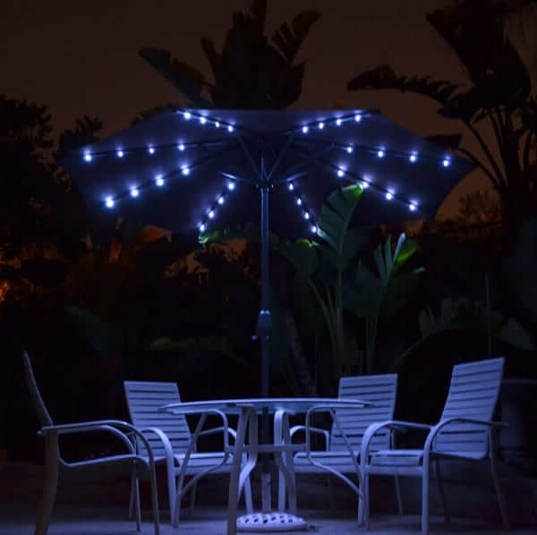 Solar Patio Umbrellas Pertaining To Most Current Solar Market Patio Umbrella – Coffee 9'quality Patio Umbrellas (View 4 of 15)