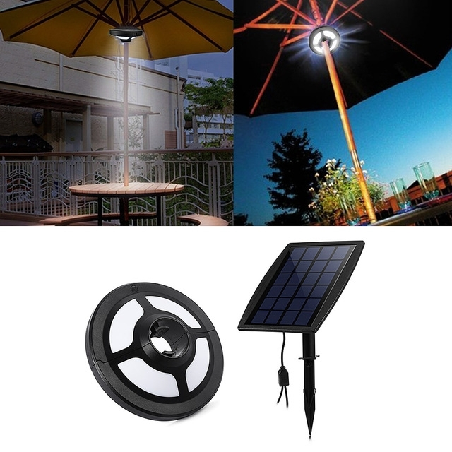 Solar Powered Patio Umbrellas Intended For Most Up To Date 36 Leds Portable Patio Umbrella Light  (View 9 of 15)