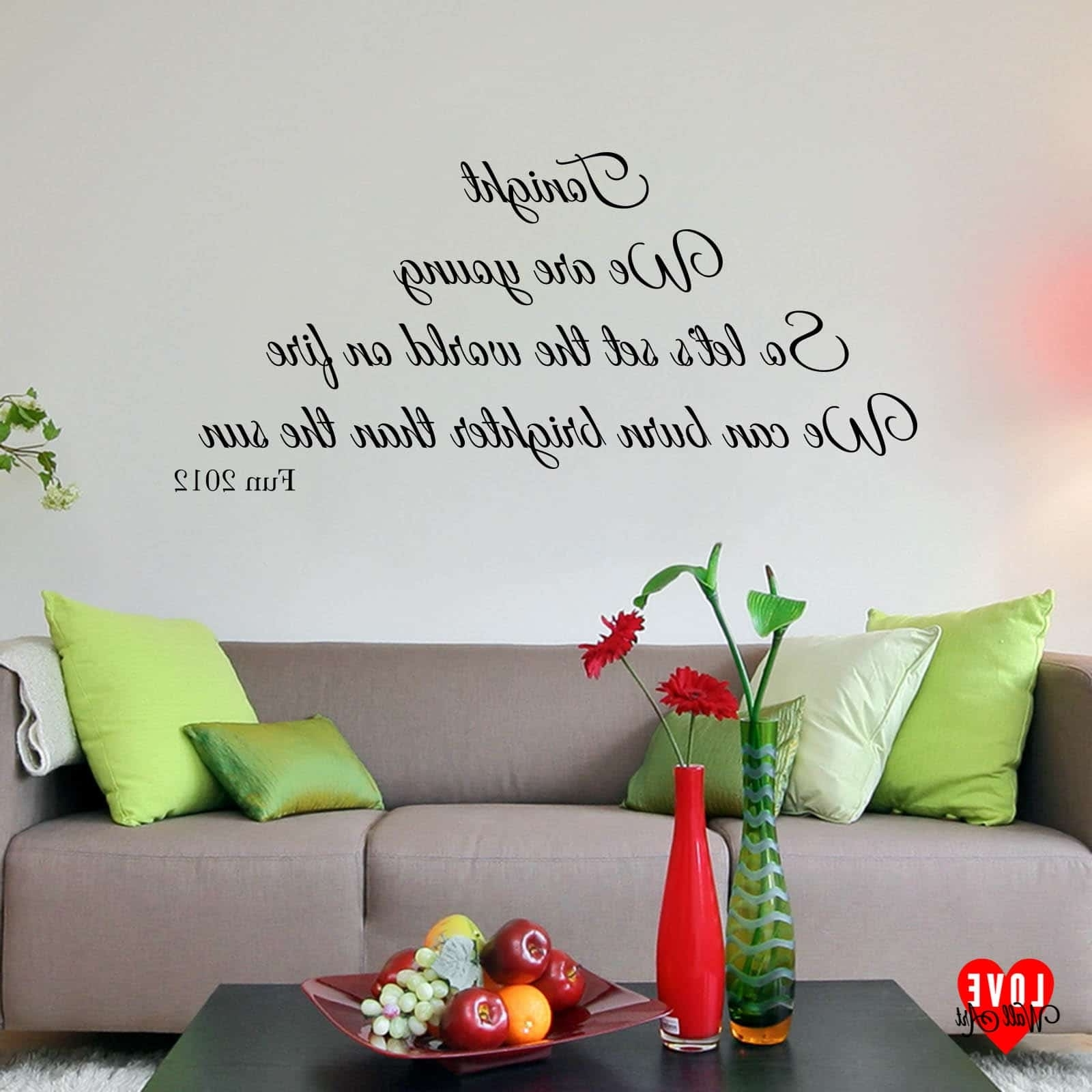 Song Lyric Wall Art Throughout Most Recently Released Fun Song Lyrics Wall Art Sticker We Are Young For Living Room (View 12 of 15)