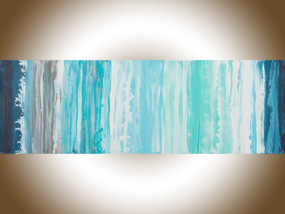 """Spaqiqigallery 36"""" X 12"""" Blue Abstract Painting Original Art With Well Liked Turquoise Wall Art (View 9 of 15)"""