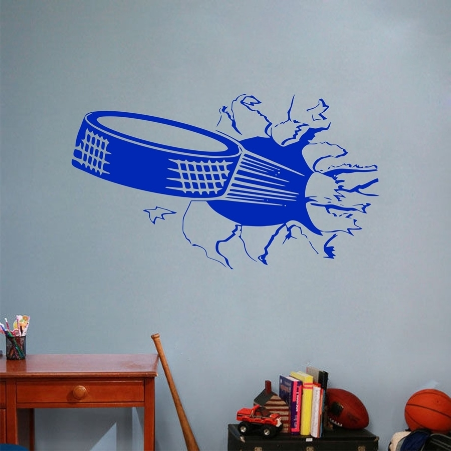 Sports Ice Hockey Wall Art Sticker , Puck Ripping Bursting Through Intended For Preferred Hockey Wall Art (View 8 of 15)