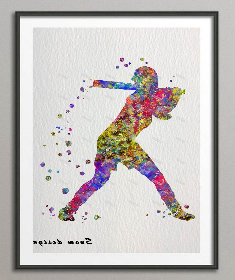 Sports Wall Art Pertaining To Widely Used Original Baseball Softball Player Watercolor Canvas Painting Sports (View 13 of 15)