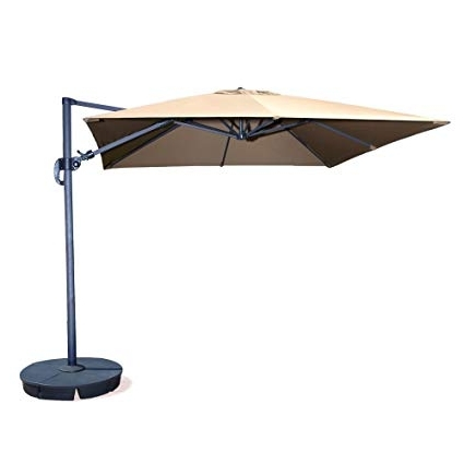 Square Cantilever Patio Umbrellas With Regard To Trendy Amazon : Santorini Ii 10 Ft Square Cantilever Umbrella In Beige (View 11 of 15)