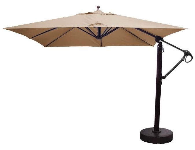 Square Sunbrella Patio Umbrellas With Regard To Most Up To Date 10 Foot Square Cantilever Patio Umbrella With Beige Sunbrella Fabric (View 2 of 15)