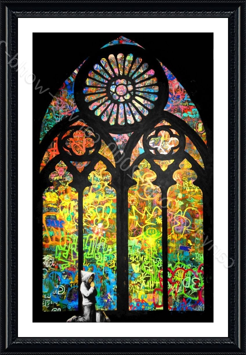 Stained Glass Wall Art Regarding Current Framed Poster Stained Glass Window Church Cathedral Banksy Wall Art (View 11 of 15)