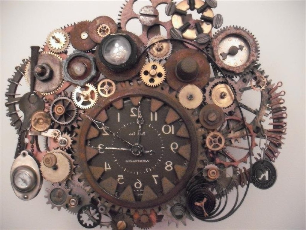Steampunk Wall Clock Working Gears Photos On Diy Steampunk Wall Art In Most Current Steampunk Wall Art (View 11 of 15)