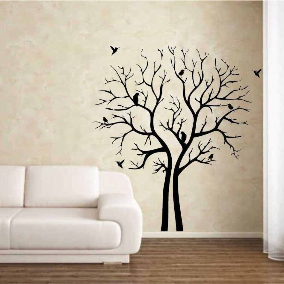 Stencil Wall Art For Best And Newest Decoration Ideas: Fancy Living Room Decoration With White Leather (View 7 of 15)