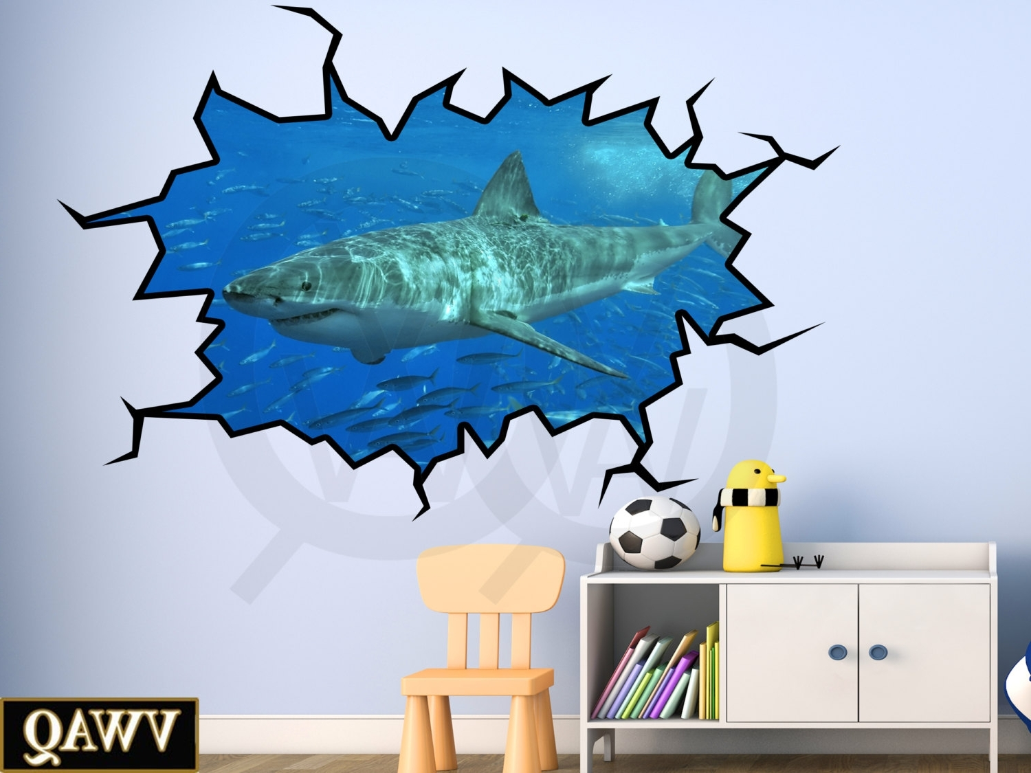 Stick On Wall Art With Latest Shark Wall Decal 3D Wall Art Peel And Stick Great White Shark (View 9 of 15)