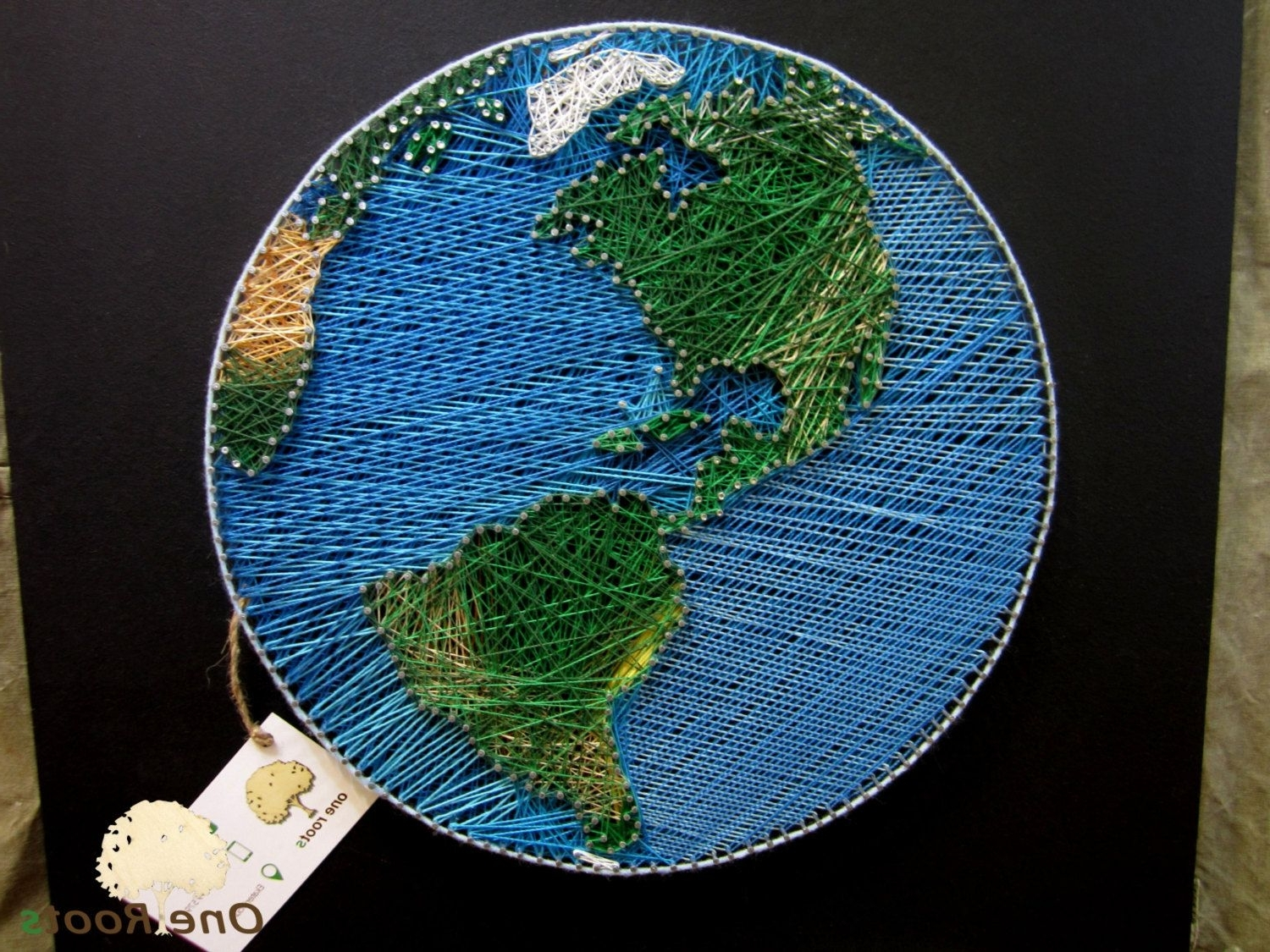 String Art Planet Earth Wall Art Sign, World Map Wall Decor Home In Latest String Map Wall Art (View 11 of 15)