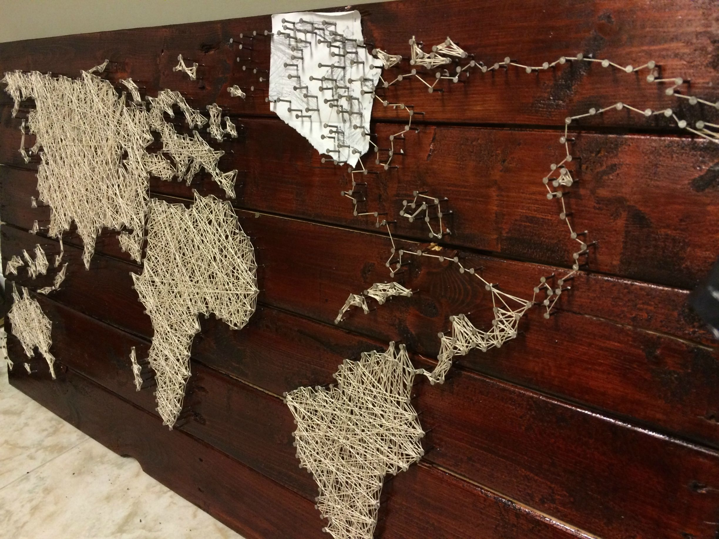String Map Wall Art Within Most Current Pallet Project – String And Nail World Map (View 10 of 15)