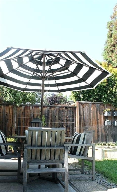 Striped Patio Umbrella Simple Black And White Striped Outdoor Throughout Popular Sunbrella Black Patio Umbrellas (View 12 of 15)
