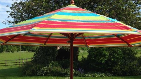 Striped Patio Umbrellas Regarding Newest Minimalist Striped Patio Umbrella Umbrellas Amazon Com (View 4 of 15)