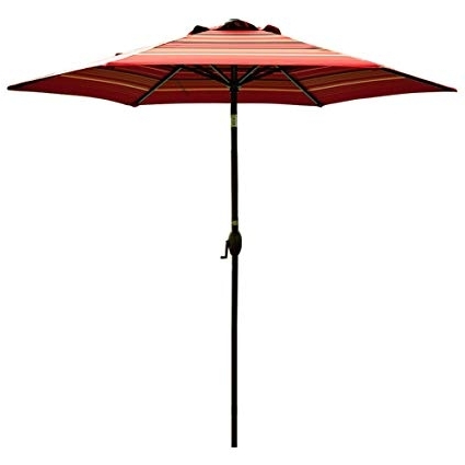 Striped Patio Umbrellas With Widely Used Amazon : Abba Patio Striped Patio Umbrella 9 Feet Outdoor Market (View 11 of 15)