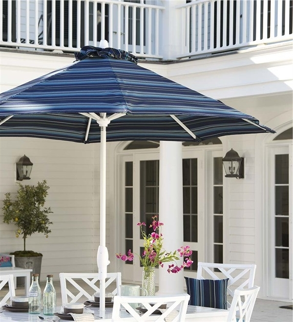 Striped Sunbrella Patio Umbrellas With Recent Sunbrella Striped Patio Umbrella Chippendale Sunbrella Umbrella With (View 4 of 15)