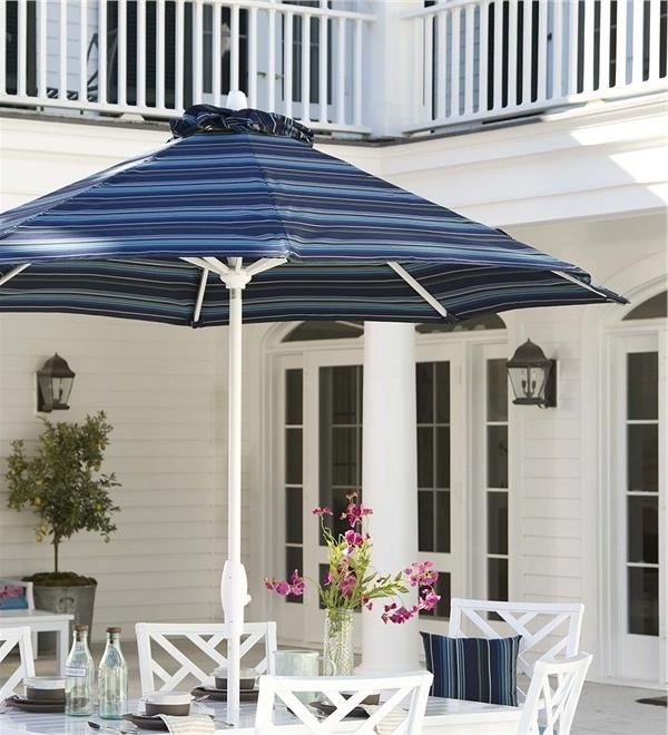 Striped Sunbrella Patio Umbrellas With Recent Sunbrella Striped Patio Umbrella Chippendale Sunbrella Umbrella With (View 4 of 15)