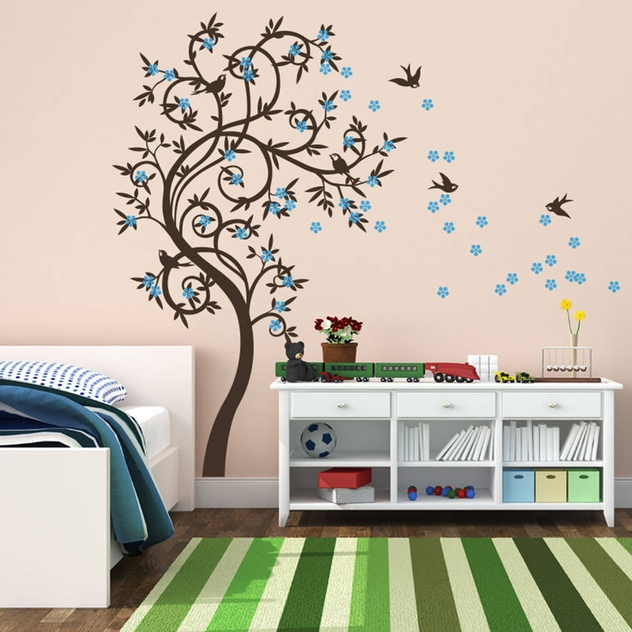 Stylish Curved Tree With Birds Wall Stickerwall Art Intended For Trendy Wall Tree Art (View 8 of 15)