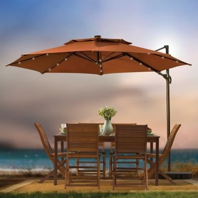 Stylish Solar Lighted Patio Umbrella Patio Umbrellas With Solar Pertaining To Current Patio Umbrellas With Solar Lights (View 4 of 15)