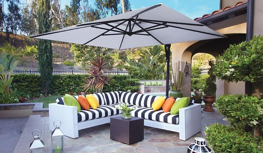 Sunbrella Outdoor Patio Umbrellas Intended For Well Known Outdoor Patio Umbrellas & Cantilevers (View 11 of 15)