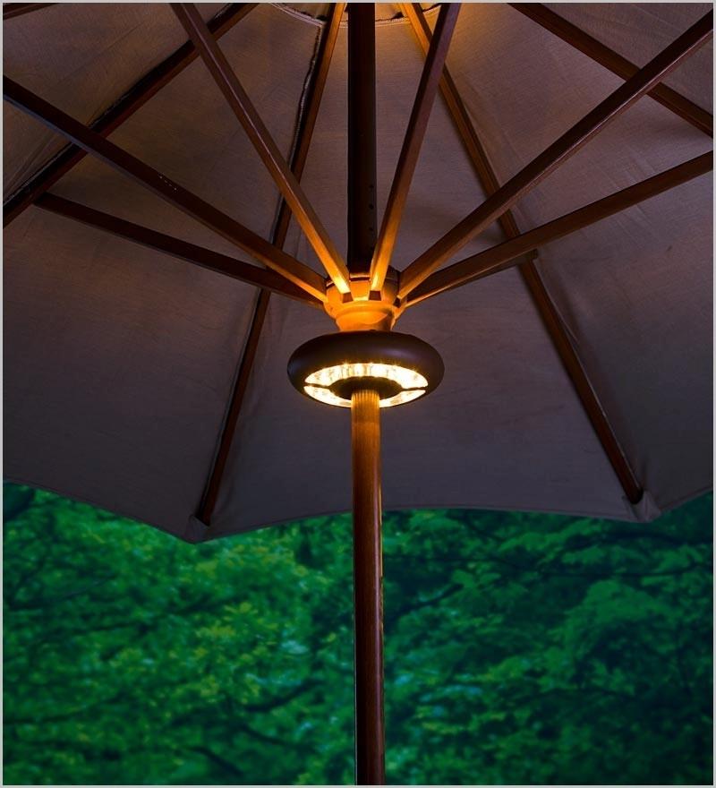 Sunbrella Patio Umbrellas With Solar Lights Regarding Favorite Unique Outdoor Umbrella With Solar Lights Attractive Designs (View 13 of 15)